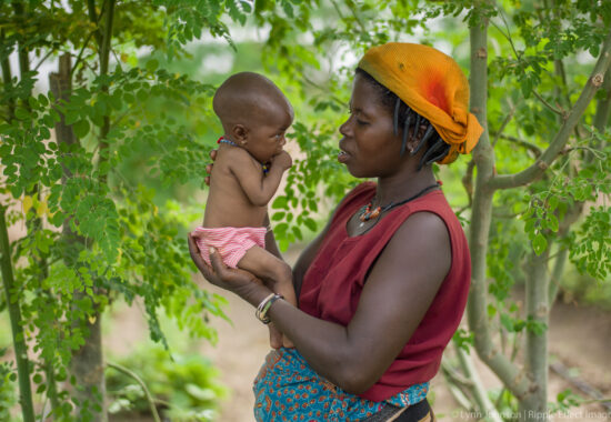*Little Barikissou, 6 mos, is clearly struggling with low weight but her mom, Sebo Gado Adamou, is putting a specific plant in her food as a supplement and it is working. Without the garden Sebo worries she might have lost her daughter.